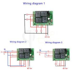 Image 3 - 433 Mhz العالمي لاسلكي للتحكم عن بعد التبديل تيار مستمر 12 فولت 4CH وحدة الاستقبال التتابع و RF الارسال 433 Mhz التحكم عن بعد