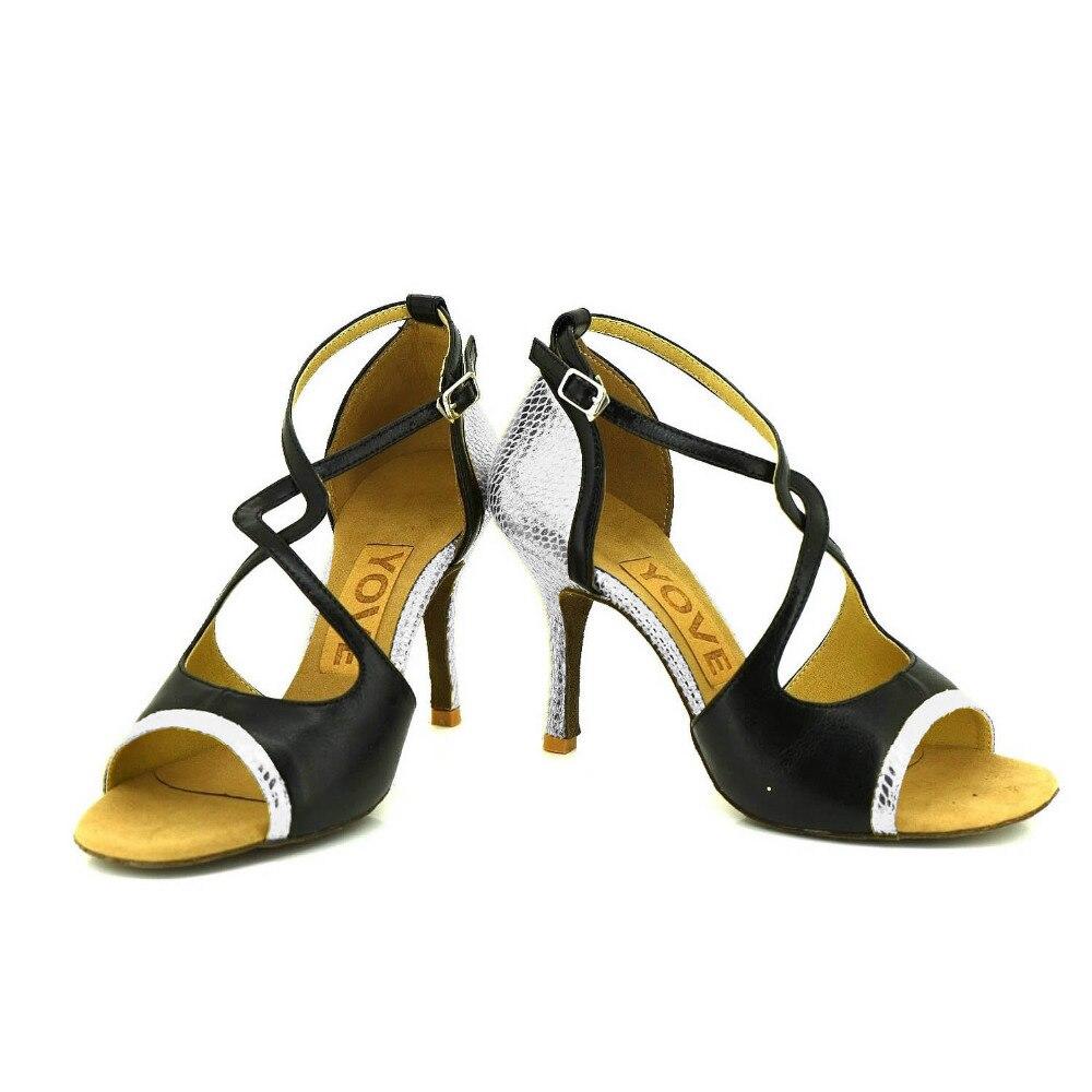 YOVE Dance font b Shoes b font Real leather Women s Latin font b Salsa b