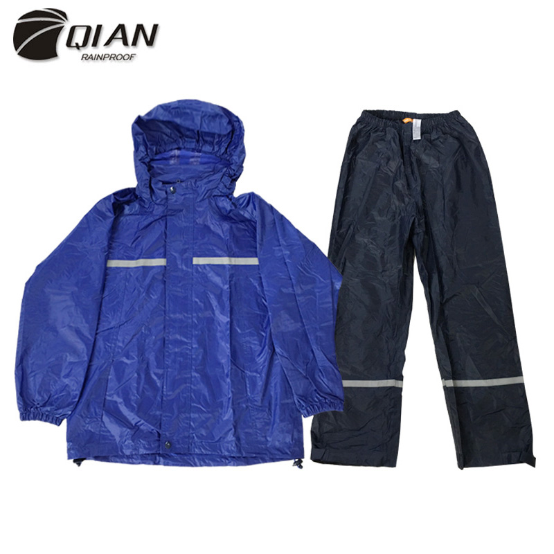 QIAN 6-15 Year Old Impermeable Children Raincoat School Waterproof Kids Rain Coat Boys/Girls Rain Gear Poncho Rain Pants Jacket