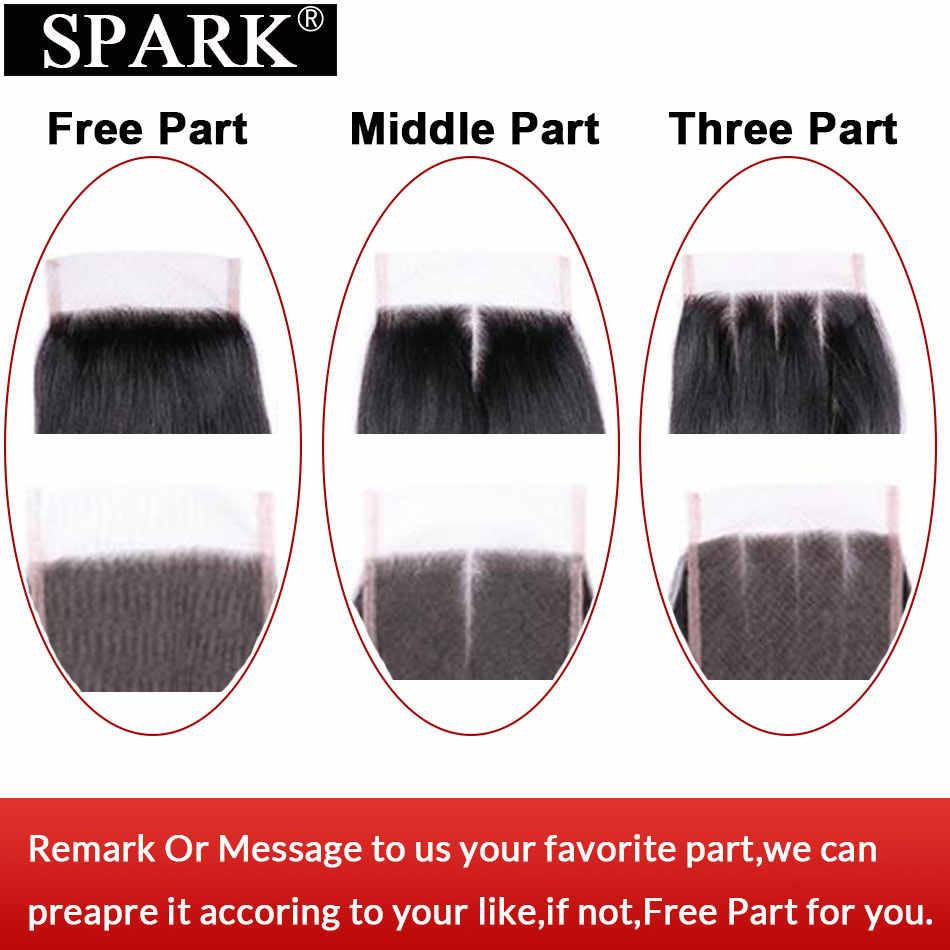 SPARK эффектом деграде (переход от темного к бразильские Кудрявые Волнистые человеческие волосы пучки волос с закрытием кружева бесплатная часть 1B/4/30 Волосы remy 3 Связки с закрытием