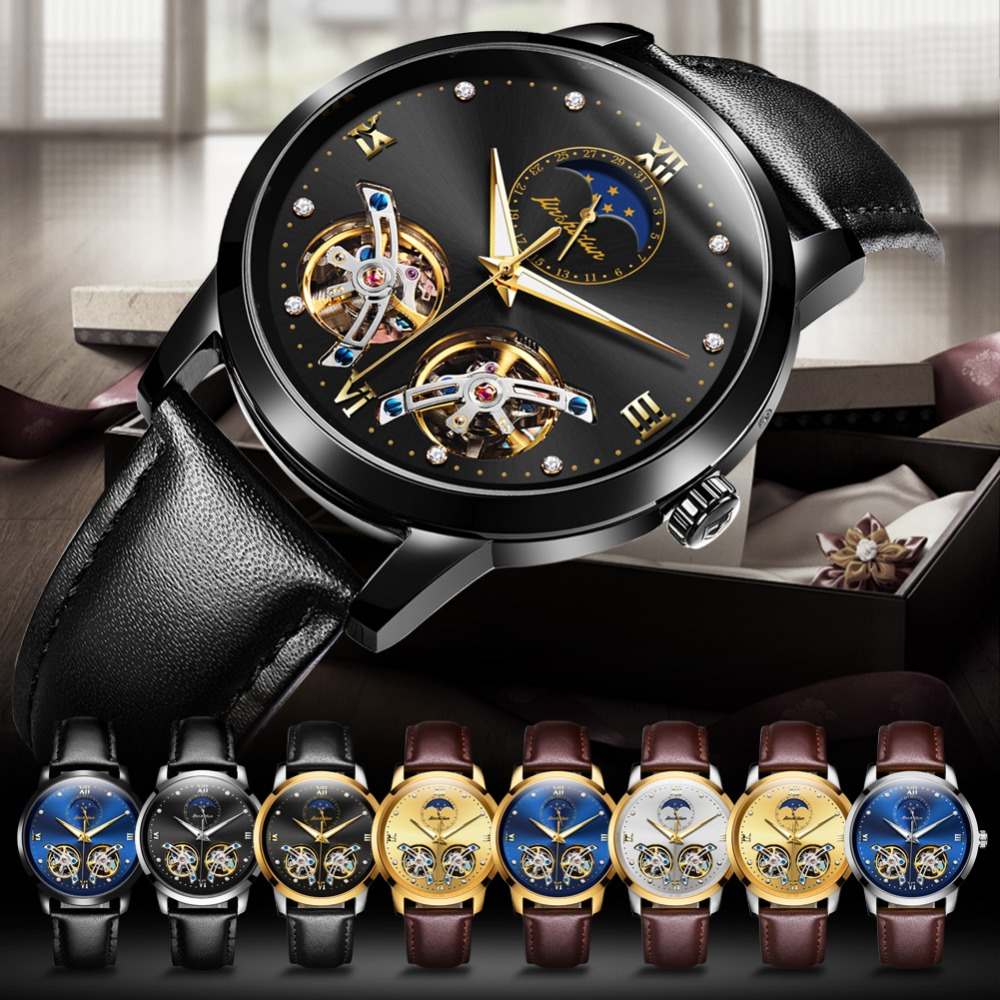 Double Tourbillon Skeleton Watch White Gold Dial Moon phase JSDUN Luxury Business Men Mechanical Wristwatch Automatic Watch 2019 - 6