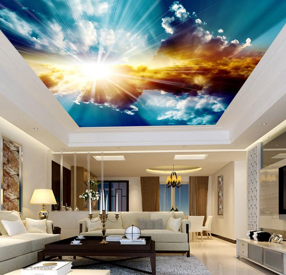 3D Ceiling Murals Wallpaper Blue Sky and White Clouds Living room Bedroom Sky Ceiling Mural Wall papers Home Decor murals wall paper modern art top beach deep blue sea water ripples swim dolphins home decor ceiling large wall mural wallpaper