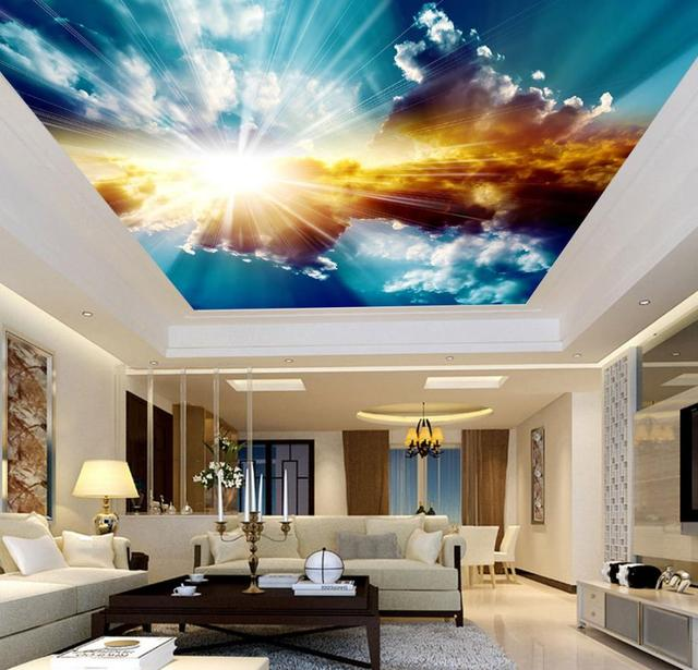 3d Ceiling Murals Wallpaper Blue Sky And White Clouds Living Room Bedroom Sky Ceiling Mural Wall