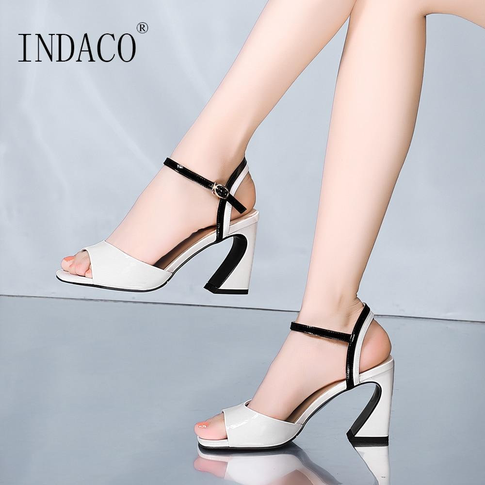 Sandales d'été mode femmes blanc noir épais talon haut sandales 2019 nouveau Design chaussures 8cm