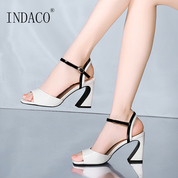Summer Sandals Fashion Women White Black Thick High Heel Sandals 2019 New Design Shoes 8cm