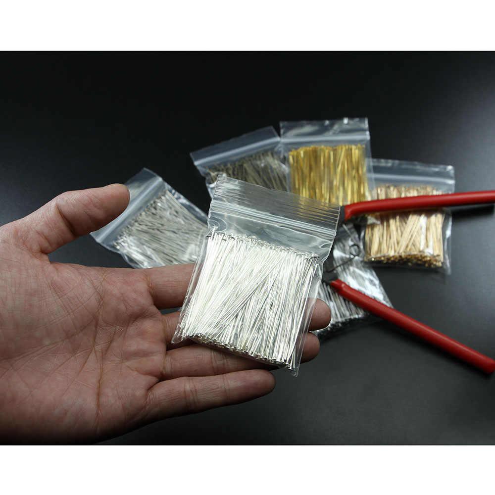 200 adet/torba 15 20 30 35 40 45 50 60 70 mm Metal Headpins düz toplu iğne malzemeleri takı yapımı için bulguları aksesuarları toptan