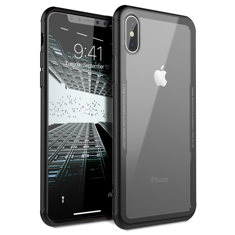 Clear Phone Iphone 7 6 6S Plus X Cover Transparent Shockproof Tempered Glass TPU Hybrid Hard Back Ultra Thin