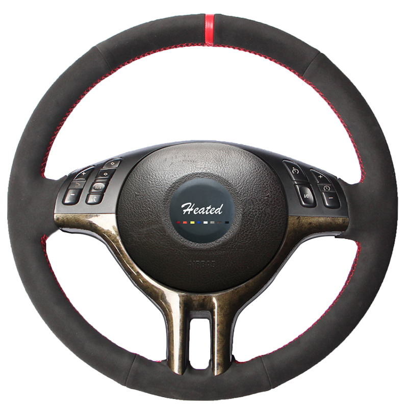 Suede Leather Stitched Car Steering Wheel Cover for BMW E39 E46 325i E53 X5 braid on the steering wheel capa para volante