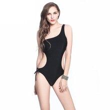 TRIKINI Una Pieza Solo Hombro del traje de Baño Traje Negro 2017 Brasileña Monokini Traje de Baño Halter Del Traje de Baño Con Tirantes Bottom