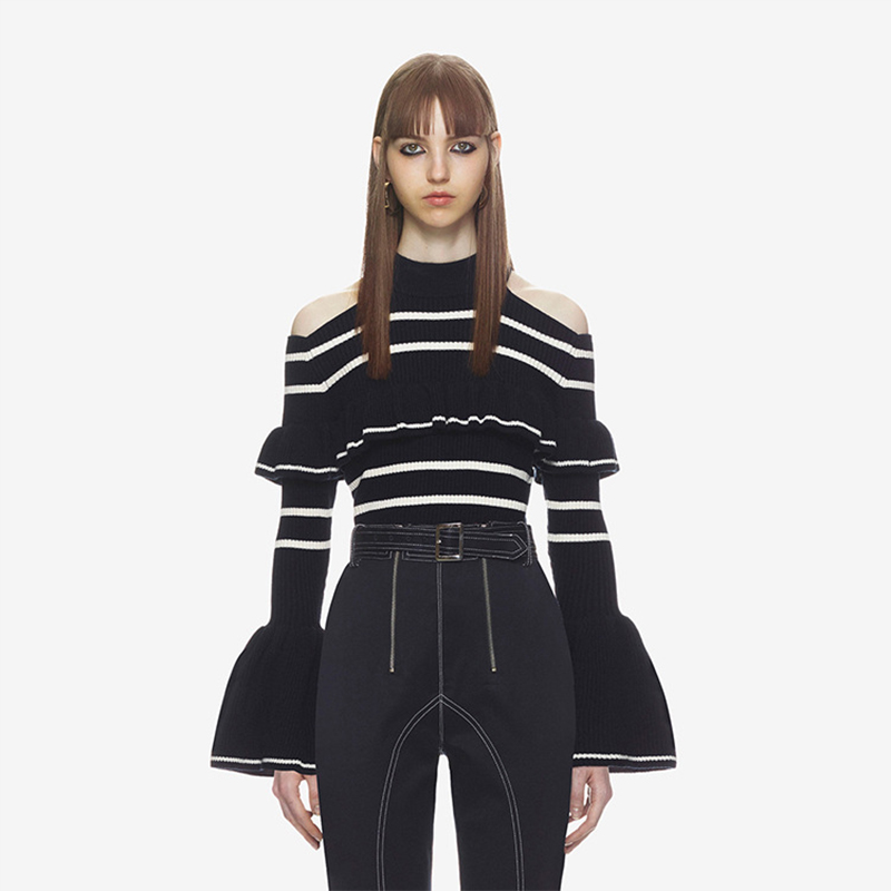 2018 autumn winter woman sweater and pullover runway design flare sleeve striped o-neck Strapless sweater woman luxury knitted