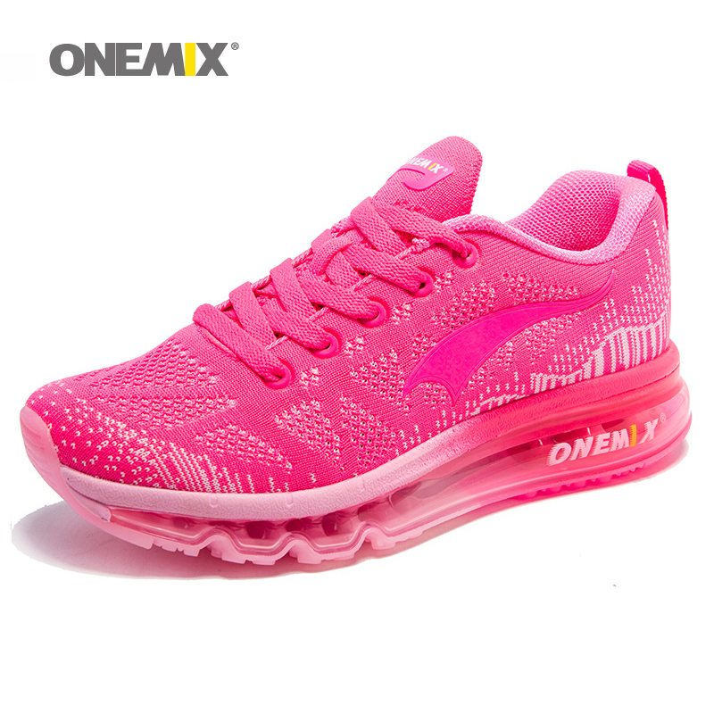 ONEMIX Air Cushion Running Shoes For Women 90 Free Weaving Sneaker Breathable Mesh Knit Sport Athletic