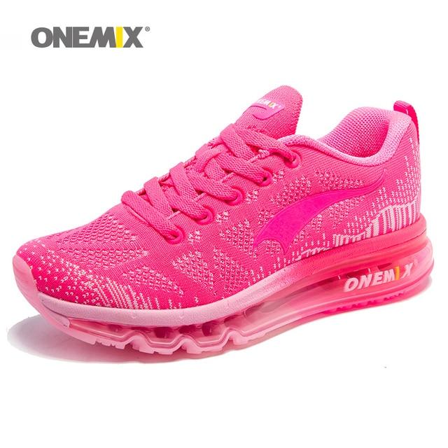 ONEMIX cojín de aire zapatos para correr de mujer 90 gratis tejer zapatillas de deporte de malla transpirable de deporte de punto de Atlético Zapatos de deporte