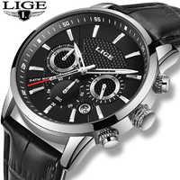 2019 cadeau Top marque de luxe LIGE nouvelle mode en cuir Montre hommes montres décontracté Date affaires Quartz montres hommes horloge Montre Homme