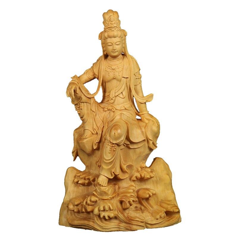 14cm vintage sculpture Exquisite Guanyin Boxwood Buddha statue Decoration craft Pray bless festival Gift Souvenir Huang