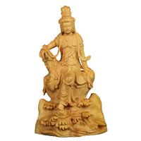 14cm Vintage Sculpture Guan Yin Boxwood Buddha Statue Decoration Craft Pray Bless Festival Gift Wood Souvenir