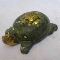 Rare Chinese Old Bronze Carved Gold gilt the turtle Ink stone /Antique Metal Pen wash calligraphy tool
