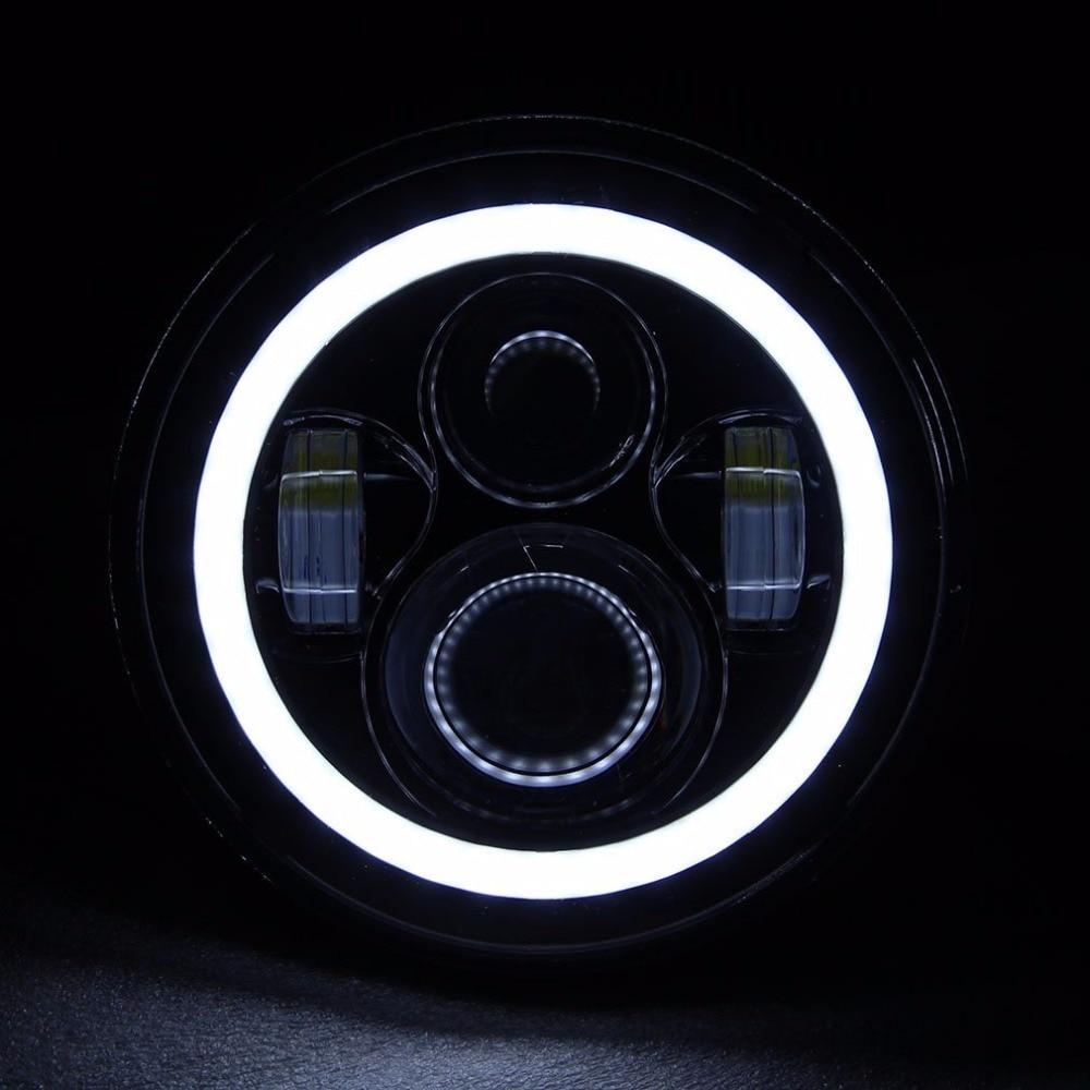 Пара Для Harley JK Wrangler TJ 7 дюймов круглые светодиодные фары Белый Halo Ангел глаз/DRL желтый сигнал поворота светодиодная daymaker