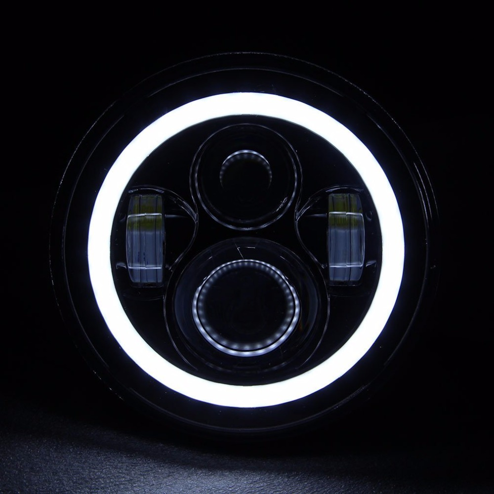 Pair For Harley JK Wrangler TJ 7 Inch Round LED Headlight White Halo Angel Eye / DRL Yellow Turn Signal LED Projection Daymaker