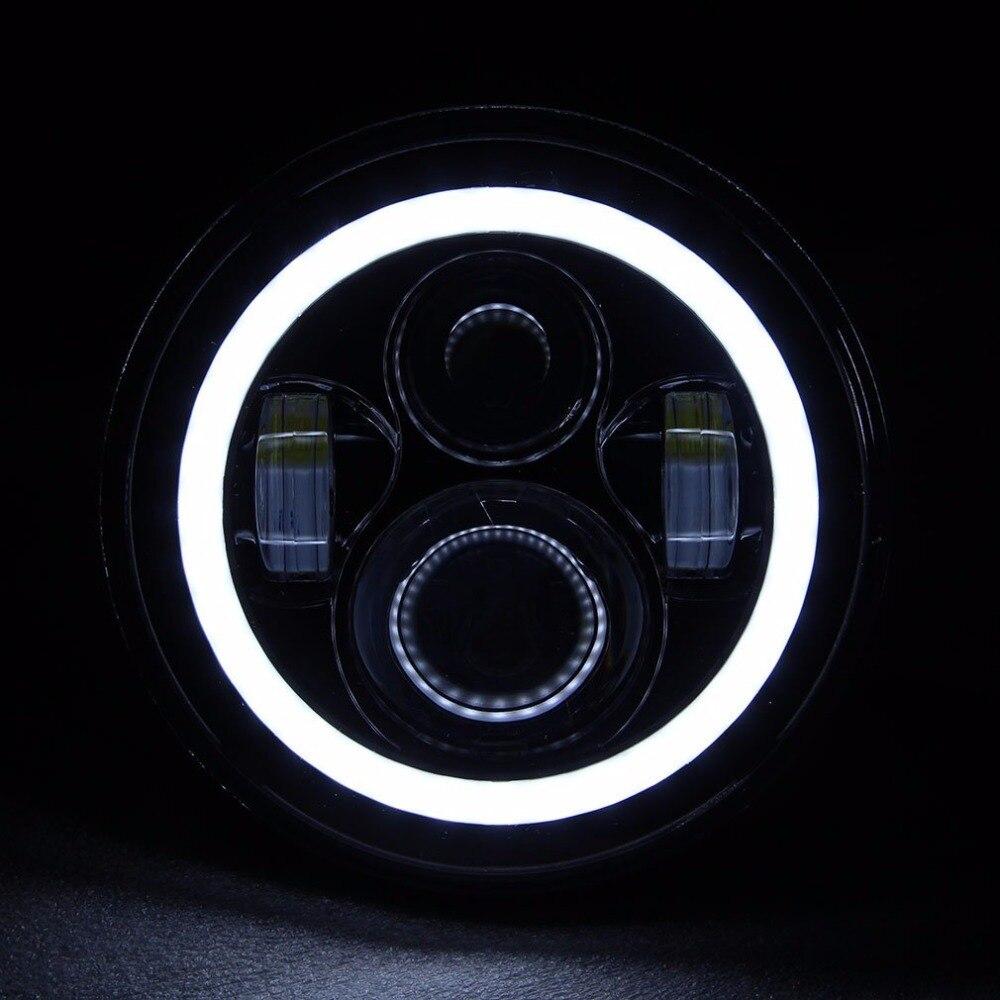 Pair Harley JK Wrangler TJ 7 Inch Round LED Headlight White Halo Angel Eye DRL Yellow