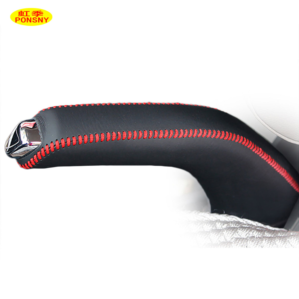 PONSNY Car Handbrake Covers Case For Chevrolet Aveo 2011-2014 Auto Handbrake Grips Cover Black/Red Lines