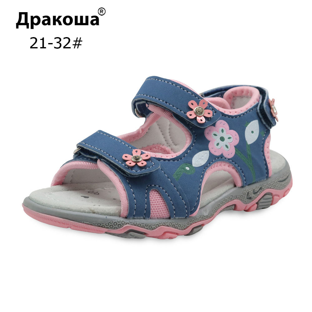 Apakowa Summer Children Shoes Girls Sport Beach Sandals With Arch Support Kids Hook-and-Loop Sandals For Girls EU Size 21-32
