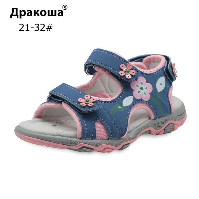 Apakowa летняя детская обувь для девочек спортивные пляжные сандалии с аркой поддержка дети крюк-и-петля сандалии для девочек ЕС размер 21-32