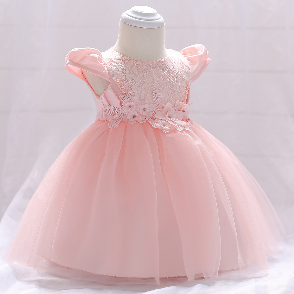 Retail Lace Floral Appliques Little Princess Baby Puffy Short Sleeves Birthday dress Pearl Baby Girls Party Dress L1842XZ