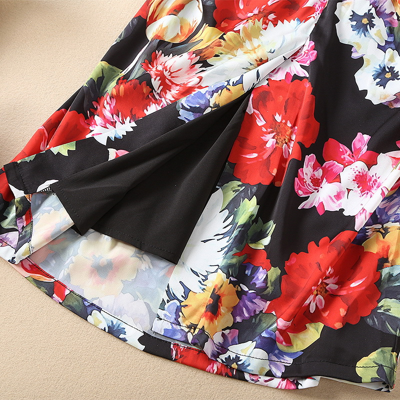 Stretch Nouvelles 181128z02 À Floral Printemps Robe 2019 Mince De Satin Femmes Plissée Longues Manches Prined 6BqwPE