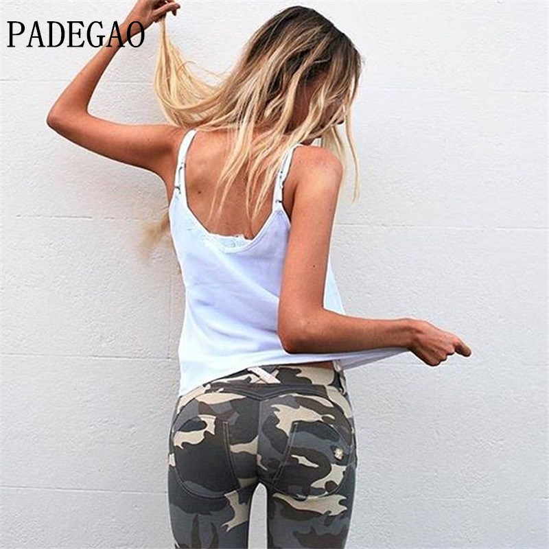PADEGAO font b Women b font Freddy jeans High Elastic Hip Tight Camouflage Low Waisted Pants