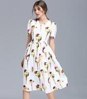 New 2017 spring summer fashion women short sleeve casual knee length cute dress ice cream patterns print dresses white