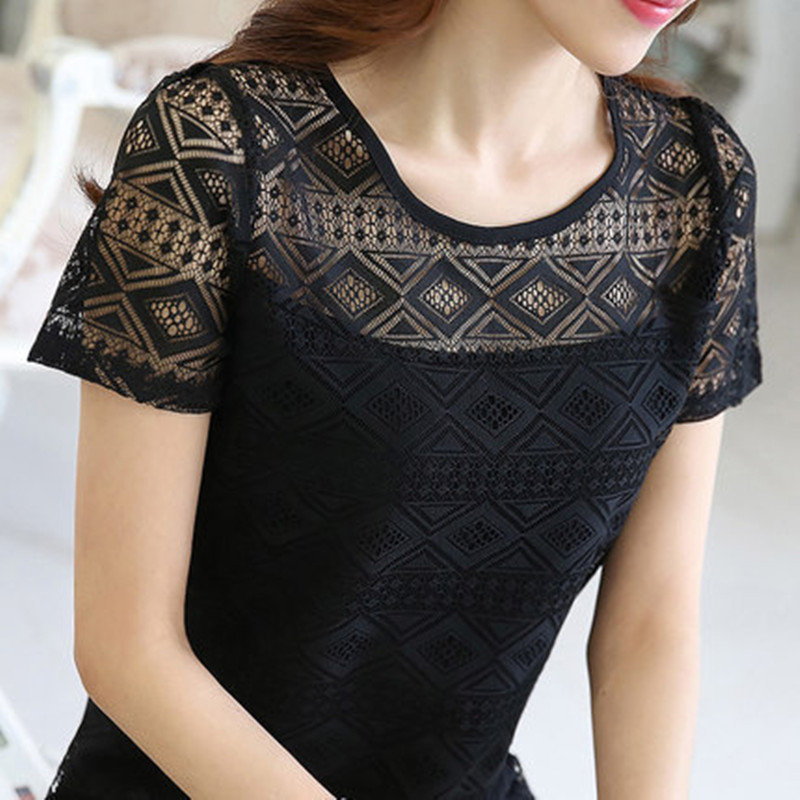 HTB1oSbZSwDqK1RjSZSyq6yxEVXaL - New Women Clothing Chiffon Blouse Lace Crochet Female Korean Shirts Ladies Blusas Tops Shirt White Blouses slim fit Tops