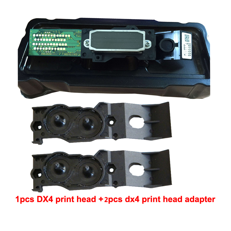 Original Inkjet Print head Pnthead+Two Adaptor free For Epson Mutoh Mimaki Roland DX4 Eco Solvent eco solvent printhead adpater for dx4 print head for mimaki jv2 jv4 jv3 for roland for muoth on high quality