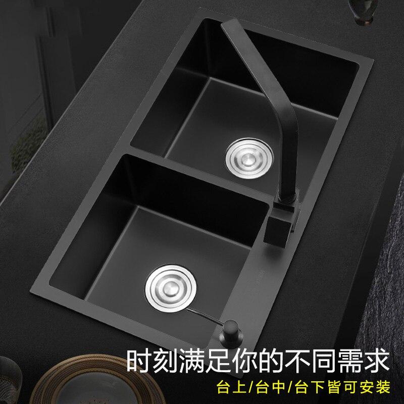 3mm épaississement xiancai bassins 304 en acier inoxydable évier à main noir double rainure repas bol avec robinet