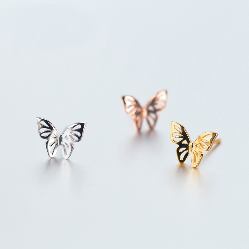 MloveAcc Women 100% 925 Sterling Silver Jewelry Tiny Hollow Out 10mmX8mm Butterfly Stud Earrings Gift Girls Kids