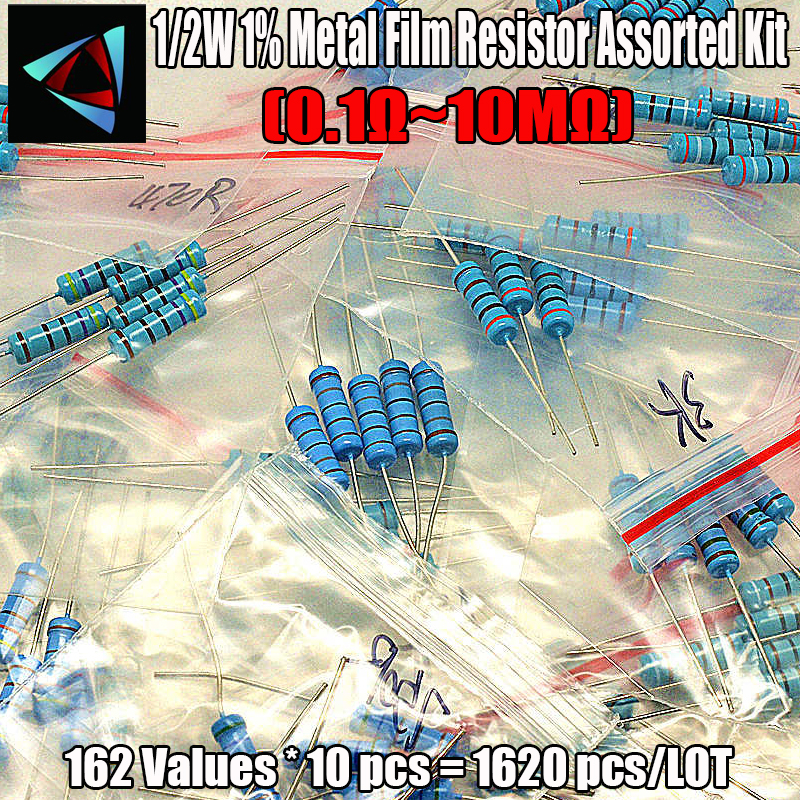 1% 1/2W Metal Film Resistor Assorted Kit 162Values*10pcs=1620pcs (1 Ohm ~10M Ohm) 100 Ohm 10 Ohm