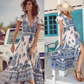 Verão boho dress etehnic sexy imprimir retro vintage dress tassel beach dress hippie bohemain dress robe vstidos de mujer