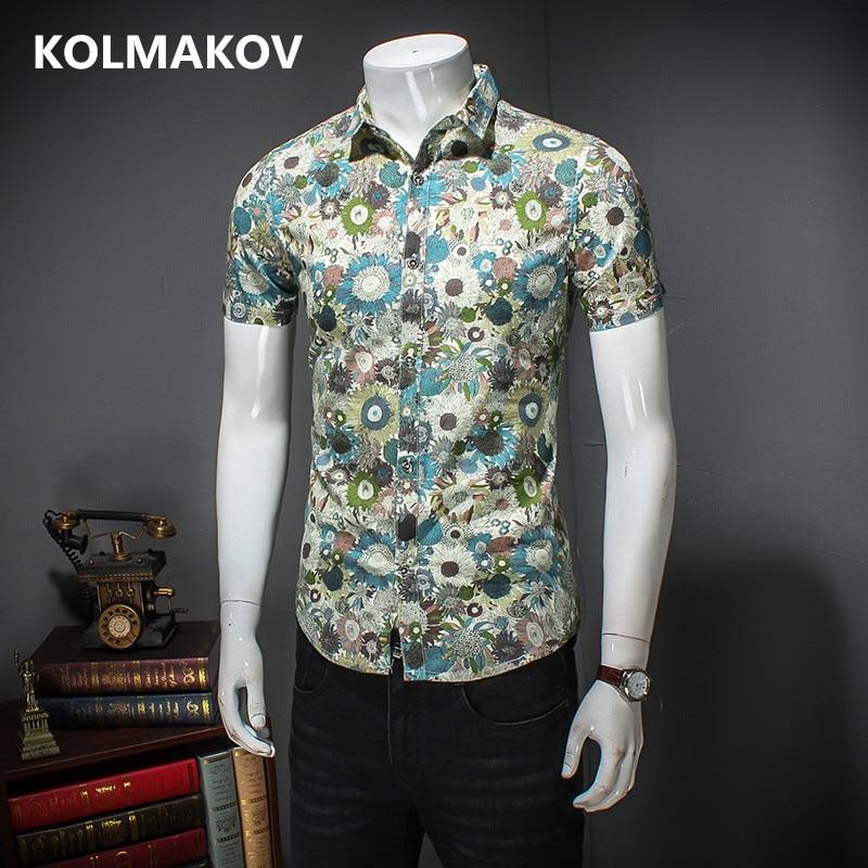 2018 Shirts Men Casual Shirt Men Masculino Floral Printed Short Sleeve Shirts Cotton Shirts Homme Slim Fit Male Big Size 5XL
