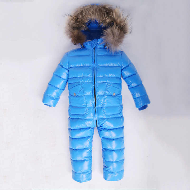... -30 зимний комбинезон для малышей 80% утиный пух комбинезон на открытом  воздухе Детское пальто ... da440912b6e