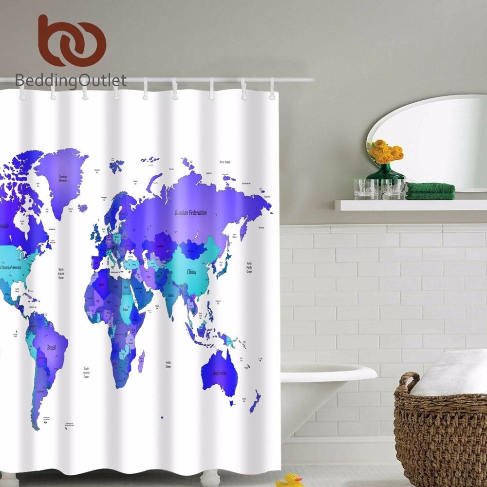 Blue bathroom curtains - Beddingoutlet World Map Printed Shower Curtain Purple Blue Fabric Waterproof Bathroom Curtain With Free Plastic Hook