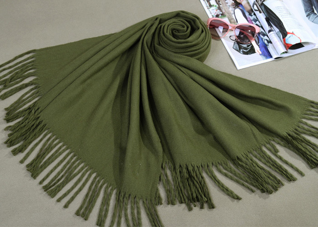 Free Shipping Army Green New Winter Women's Cashmere Shawl Scarf Thick Warm Wrap WS009-X