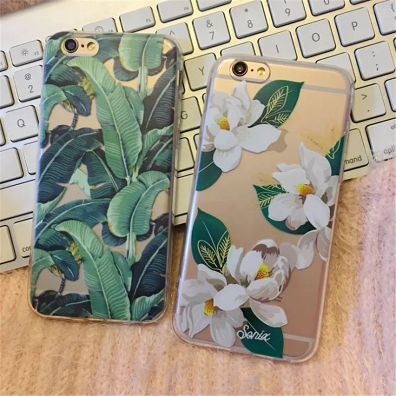 Banana Leaf Flower Brand Phone Cases For Apple iPhone 6 6s 6 Plus 5 5s SE Silicona Soft Transparent TPU Back Cover B172