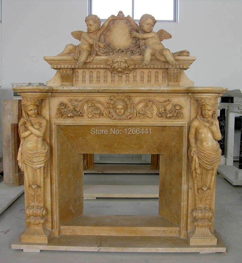 marco de repisa de la chimenea de piedra chimenea de estilo americano con angelet escultura