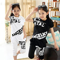2016 Girls Print Clothes Set For Summer Sport Short Sleeve+Short Harem Pants Girl Summer School Perform Hip-Hop Clothing Set