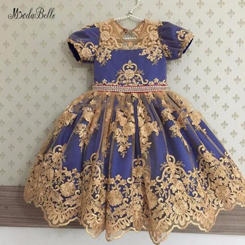 modabelle Royal Blue   Flower     Girl     Dress   With Bow Vestido Primera Comunion Pink   Girls     Dresses   For Party And Wedding Baljurk Meisje