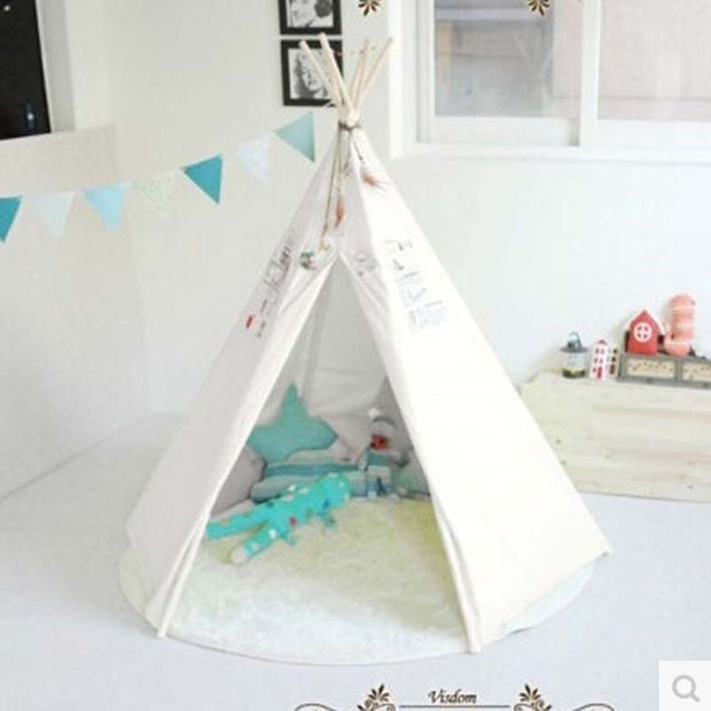 Kids Teepee Play Tent 100% cotton Canvas indoor or outdoor Playhouse with Case & Kids Teepee Play Tent 100% cotton Canvas indoor or outdoor ...