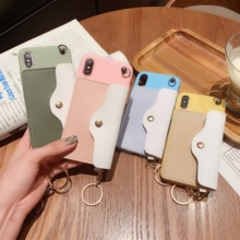 Candy Color With Card Pocket phone Case For iPhone X XS Max XR Wallet Cover 8 7 6 S Plus Soft Have Lanyard Coque Capa
