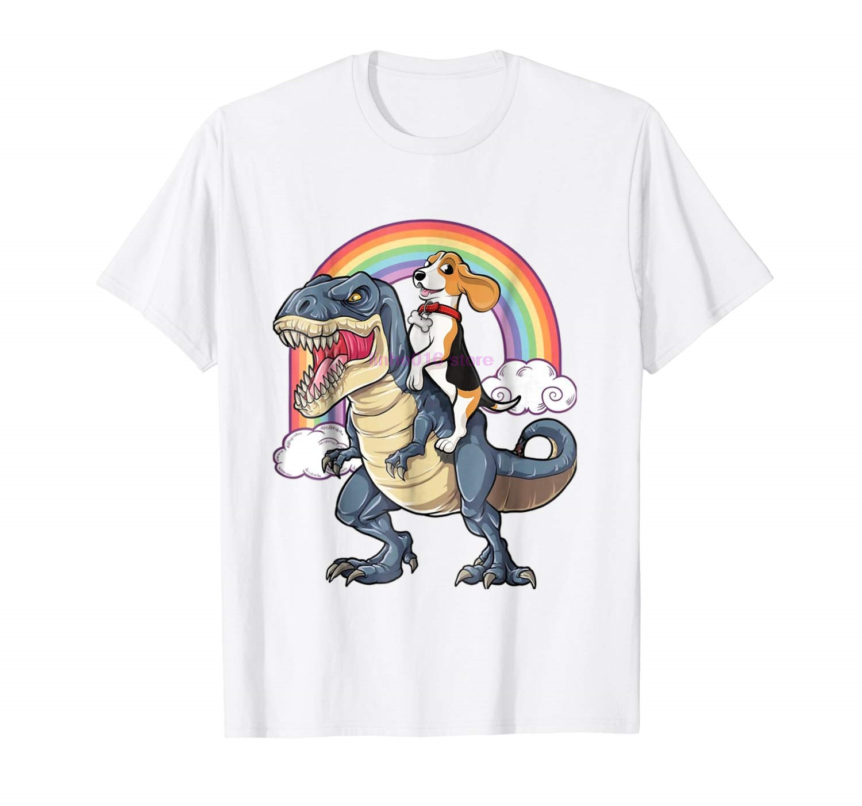 3bccb9b0a GILDAN brand men shirt Beagle Riding Dinosaur T Rex T Shirt Beagle Rainbow  Gifts