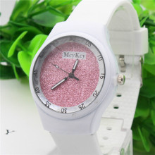 Ladies's Causal Sports activities Quartz Wristwatches White Silicone Belt Colourful Starry Pink Watch Feminine Sweet Jelly Watch Relojes