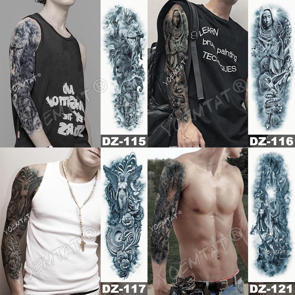 Tatuaje para brazo impermeable cráneo completo 2