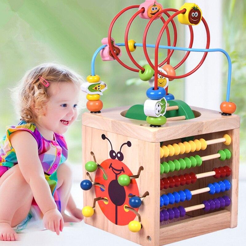 Montessori Math jouet jouets en bois pour enfants Multi fonction boulier horloge perles jouet éducatif enseignement aides pour enfants bébé - 3
